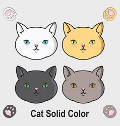 Cute cat solid color vector