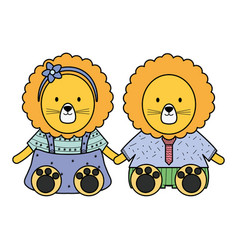 Cute lions couple childish characters vector