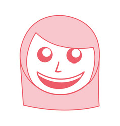 Cute pink women face cartoon vector