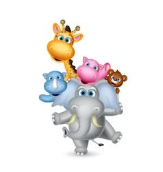 cute wild animal cartoon posing vector image