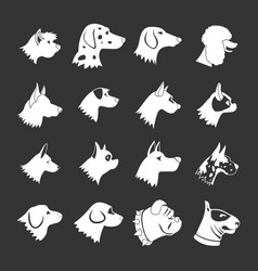 Dog icons set grey vector