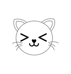 Dotted shape smile cat head cute animal vector