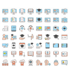 E learning and educated online icon set filled vector