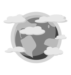 Earth planet in the clouds icon vector image