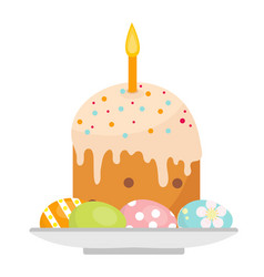 easter cake with candles on a plate with eggs icon vector image