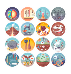 education and science flat circle icons set vector image