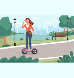 electric city transport young girl rides segway vector image