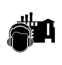 Factory and worker with earmuffs icon vector
