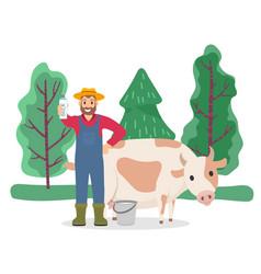 Farmer stand with milk near cow cattle animal vector