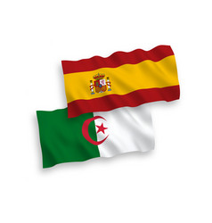 Flags algeria and spain on a white background vector