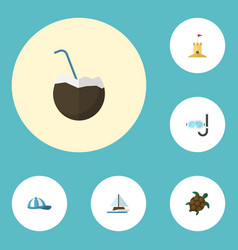 flat icons tortoise aqualung hat and other vector image