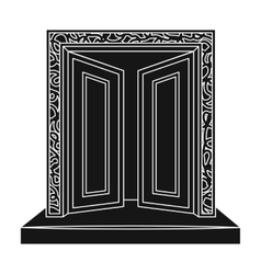 Gates to Valhalla icon in black style isolated on vector