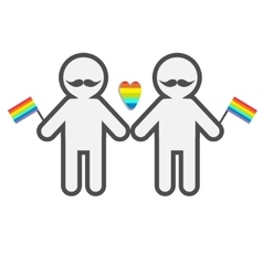 Gay marriage Pride symbol Two contour man with vector image