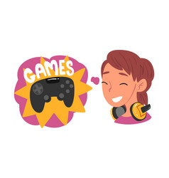 Girl dreaming about computer games human thoughts vector