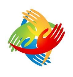 Group hands together logo vector