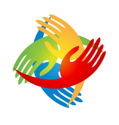 Group of hands together logo vector