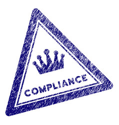 Grunge textured compliance triangle stamp seal vector