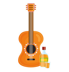 guitar instrument with tequila bottle vector image
