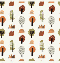 hand drawn autumn forest seamless pattern vector image