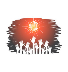hand drawn raised hands under disco ball in club vector image