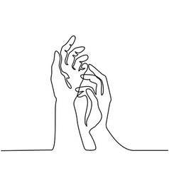 hands palms together vector image