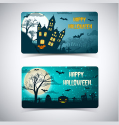 happy halloween banners with huge moon vector image