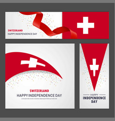 Happy switzerland independence day banner and vector