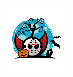 hockey mask halloween blue moon vector image