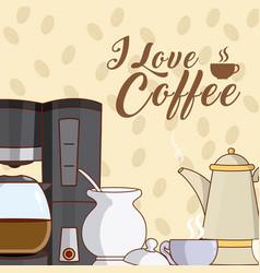 I love coffee concept vector