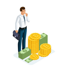 isometric businessman stands next to a large pile vector image