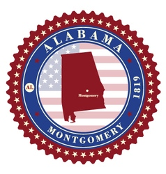 label sticker cards state alabama usa vector image