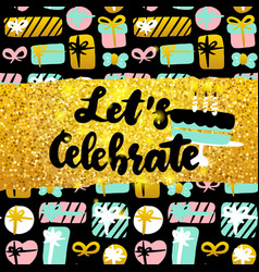 Lets celebrate postcard design vector