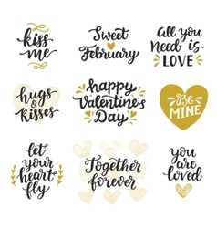 Love hand drawn quotes collection vector