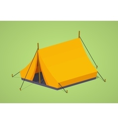 Low poly orange camping tent vector