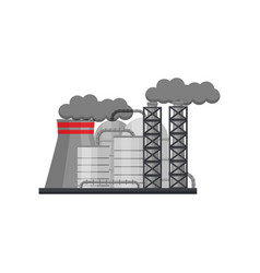 Manufacturing factory with large steel cisterns vector