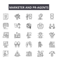 Marketer and pr-agents line icons signs vector