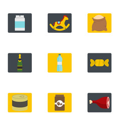 meal icons set flat style vector image