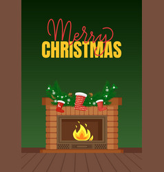 Merry christmas fireplace with santa stockings vector