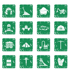 Miner icons set grunge vector