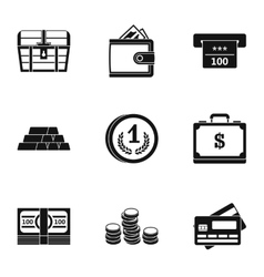 Monetary resource icons set simple style vector