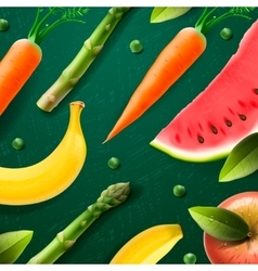 Natural fruit and vegetabels products vector image