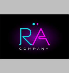 Neon lights alphabet ra r a letter logo icon vector