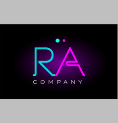 neon lights alphabet ra r a letter logo icon vector image
