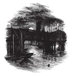 Old bridge vintage vector