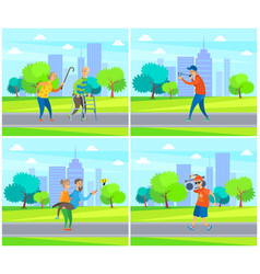 old people in park granny and grandpa yelling vector image