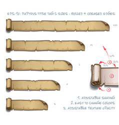 papyrus tittle tag five sizes - rolled and vector image