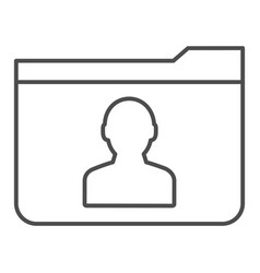 Personal folder thin line icon member folder vector