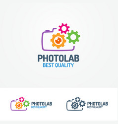 Photolab logo set with photocamera and gears vector