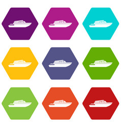 Planing powerboat icon set color hexahedron vector