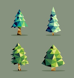 Polygonal abstract pine tree set vector image